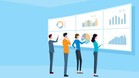 flat illustrations design concept business finance investment  and business team on monitor graph dashboard