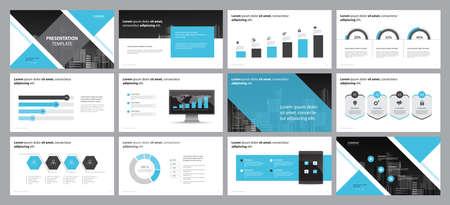 modèle de conception de mise en page pour la conception de présentation d'entreprise et utilisation pour le rapport annuel et le profil d'entreprise ou la présentation de brochure avec des éléments infographiques et un concept de conception de modèle de graphique de rapport Vecteurs