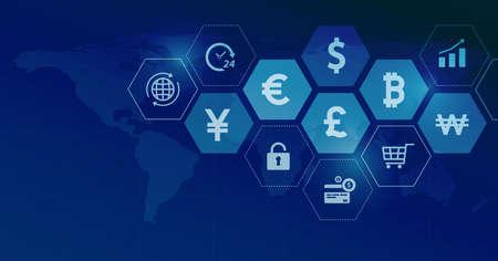 Web banner design for global business financial online connection network and global money currency concept Ilustração