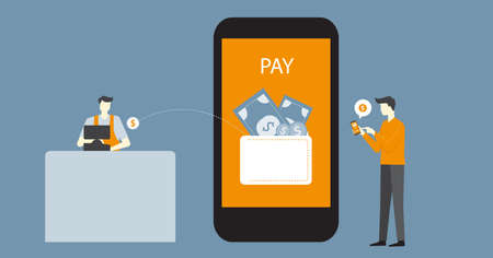 flat vector banner design business mobile payment concept