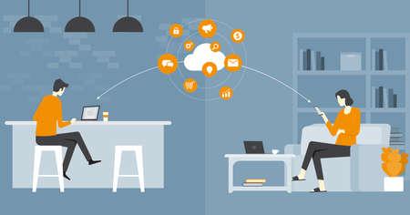 vecteur d'affaires plat travail intelligent et travail en ligne n'importe quel concept de lieu de travail