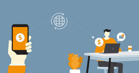 flat business online payment and money transfer concept