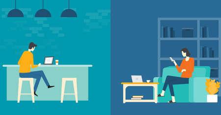 flaches Vektorgeschäft intelligentes Arbeiten und Arbeiten online jedes Arbeitsplatzkonzept