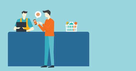 flat vector design business people use mobile payment with cashier concept Ilustração