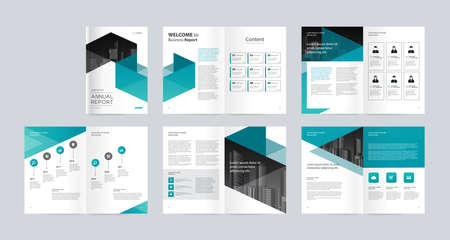 template layout design with cover page for company profile, annual report