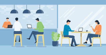 flat vector people working in workplace cafe and business team meeting concept