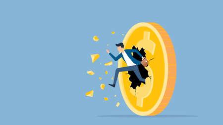 flat vector illustration businessman speed running breakthrough to dollar coin money concept Ilustração