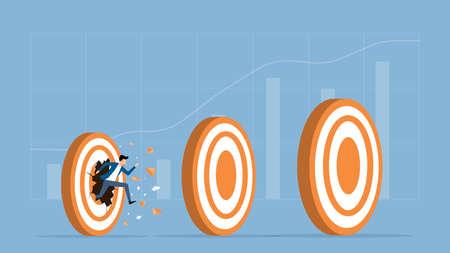 flat vector illustration businessman speed running breakthrough to target success concept Ilustração