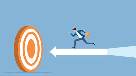 flat vector illustration businessman speed running to target success concept