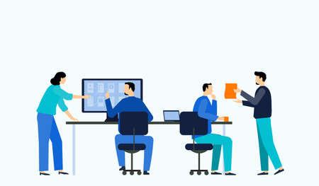 flat vector illustration business team working collaboration and group business meeting concept