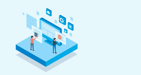 isometric flat vector web develop and web design team ,and people business team working concept