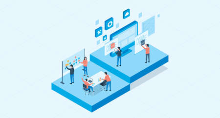 isometric flat vector web develop and web design team ,and people business team working concept Archivio Fotografico - 131597921