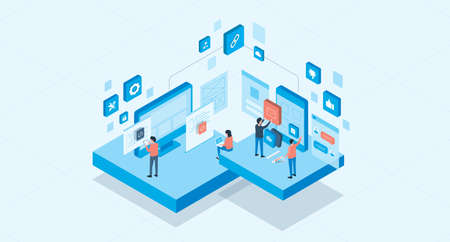 isometric mobile application and web design development process concept and group business team working Ilustrace