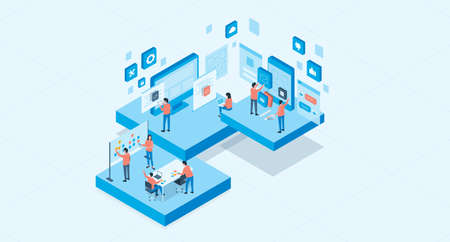 isometric mobile application and web design development process concept and group business team working Illustration