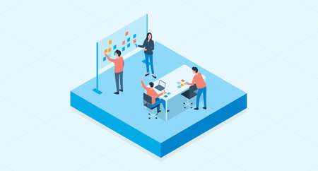 isometric flat vector  group business team meeting and project brainstorming process concept 版權商用圖片 - 131598486