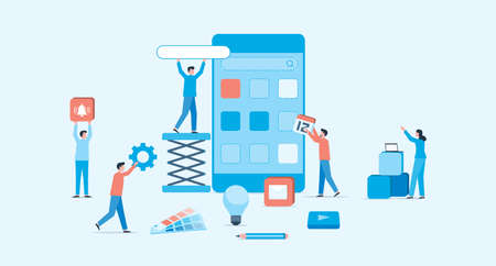 mobile application and web design development process concept and group business team working Ilustrace