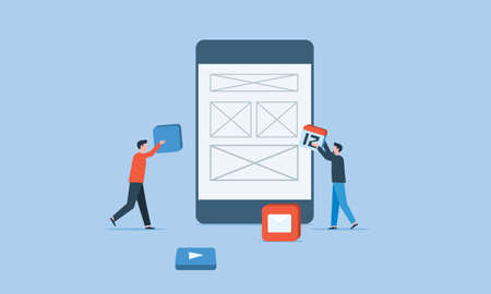 mobile application development and business team working concept
