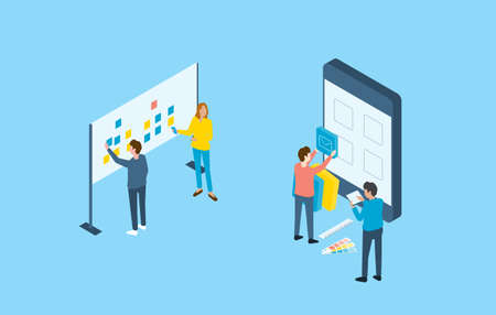 Flat design mobile application and web design development process concept and group business team working Illustration