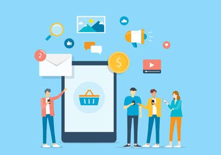 Group people use mobile application connection to business concept Ilustração