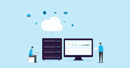 Flache Illustration Designkonzept Technologie Cloud-Speicherverbindung mit Geschäftstechnologie beim Hosting und Server-Online-Service