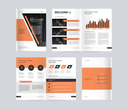 template layout design with cover page for company profile ,annual report , brochures, flyers, presentations, leaflet, magazine,book . and vector a4 size for editable. Ilustração Vetorial