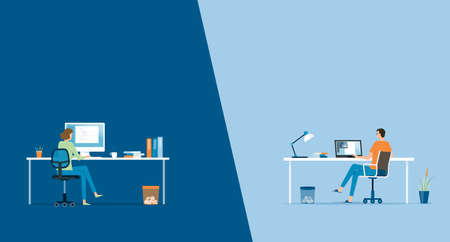 flat vector work from home workplace concept and business smart working online connect anywhere concept