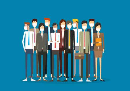 Illustrazione piatta Squadra aziendale del gruppo che indossa una maschera facciale per il concetto di protezione dai virus Vettoriali