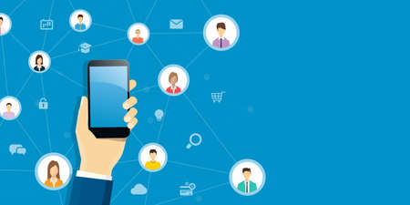 business smart working on mobile concept and technology online communication  connection concept