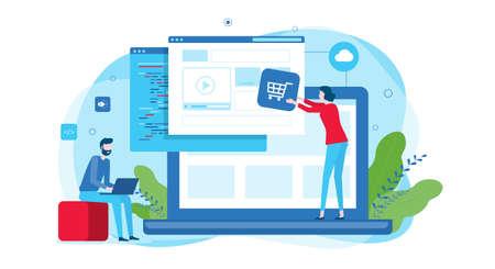 developer and designer team build online website and flat vector illustration design for web landing banner background concept 일러스트