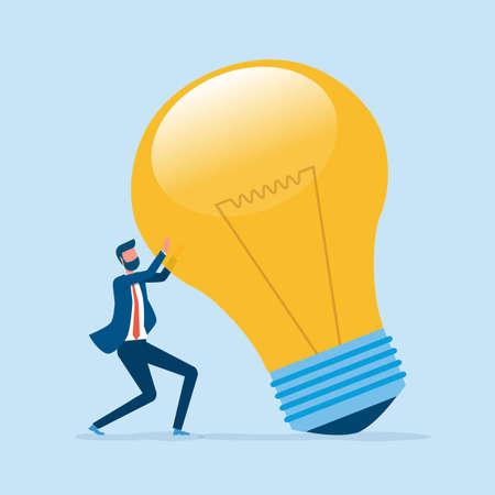 Flat vector creative thinking for business and businessman hold big light bulb