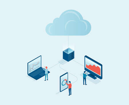 business technology cloud computing server service concept with developer team working concept. isometric design. Big data processing, cloud database and data transferring