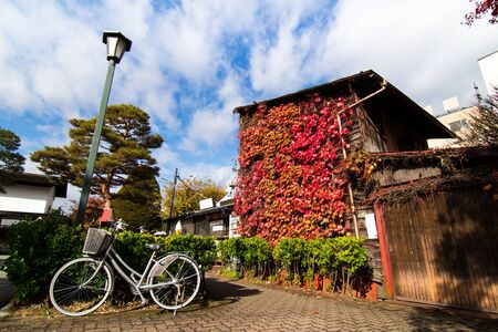 gifu: Traditional houses in a street of the old city area in autumn, Takayama, Gifu prefecture, Japan