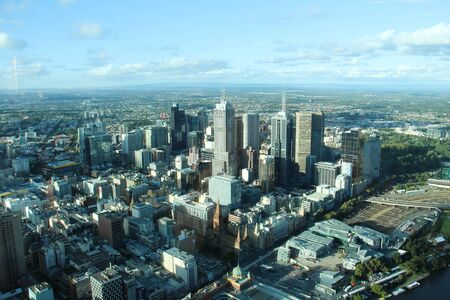 arial: Arial view of Melbourne from Skydeck 88,  Victoria Australia Stock Photo