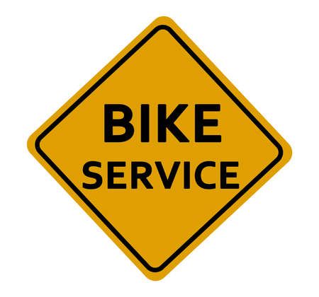 yellow  sign: Bike Service yellow sign on white background Stock Photo