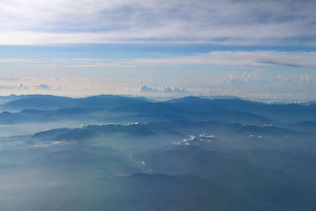 arial: Arial view of Mountain from airplane