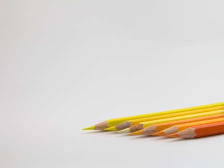 color pencils: color pencils warm tone on white background