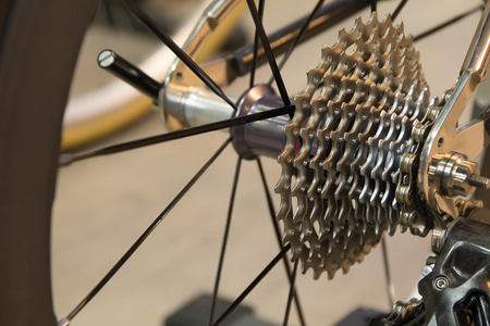 rack mount: Close up part of bicycle gear. Rear mountain bike cassette on the wheel.