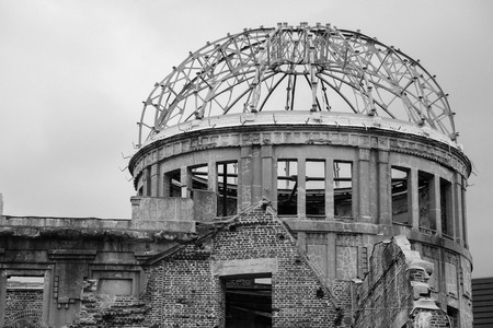 mournful: JAPAN - June,2016 : Close up top of the dome in black and white tone , Atomic Bomb Dome ,  Ruin of Hiroshima Prefectural Industrial Promotion Hall in Hiroshima , Japan Editorial
