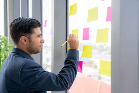 Business man is working and brainstroming in the meeting room with colleauge. Using agile methodology and do business model canvas . Colorful sticky notes on the wall are posted for new idea