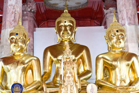 thailand s landmarks: Three Buddha in the old temple,Ayutthaya