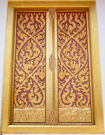 wood carving door: Window made of wood and carved with the delicate and beautiful.
