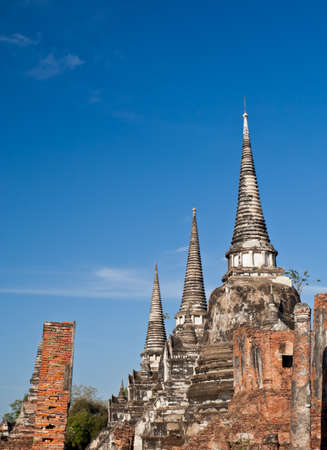 old three pagodas in Phrasrisanphet temple,Ayutthaya thailand photo