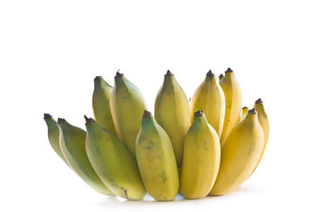 Tropical bananas are ripe on a white background photo