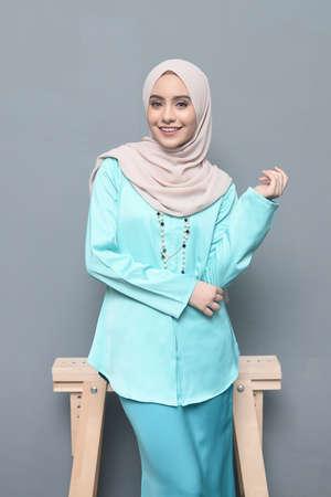 Hijab Fashion.Cute asian girl wearing hijab.