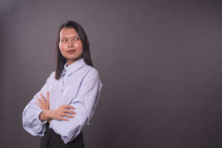 Portraiture of a asian woman with office attire.Copy space. Stockfoto