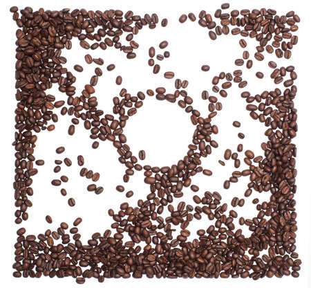 Roasted coffee beans isolated over white background.View From top with copy space. 写真素材