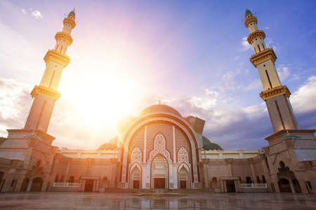 Majestic sunset over Federal Mosque (public mosque) located in Kuala Lumpur,Malaysia. Editorial