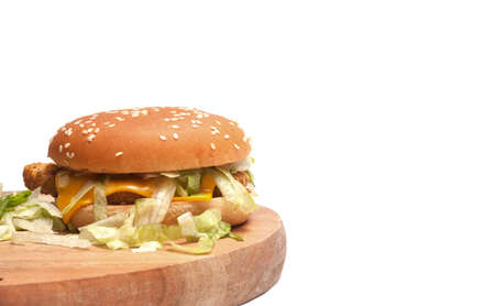 Close up shot of Cheese Burger on isolated over white background.