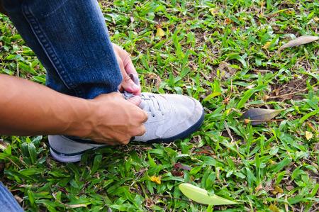 shoe laces: The shoe laces and shoe