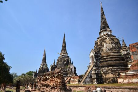Set of three pagodas  Ayuthaya, Thailand  photo